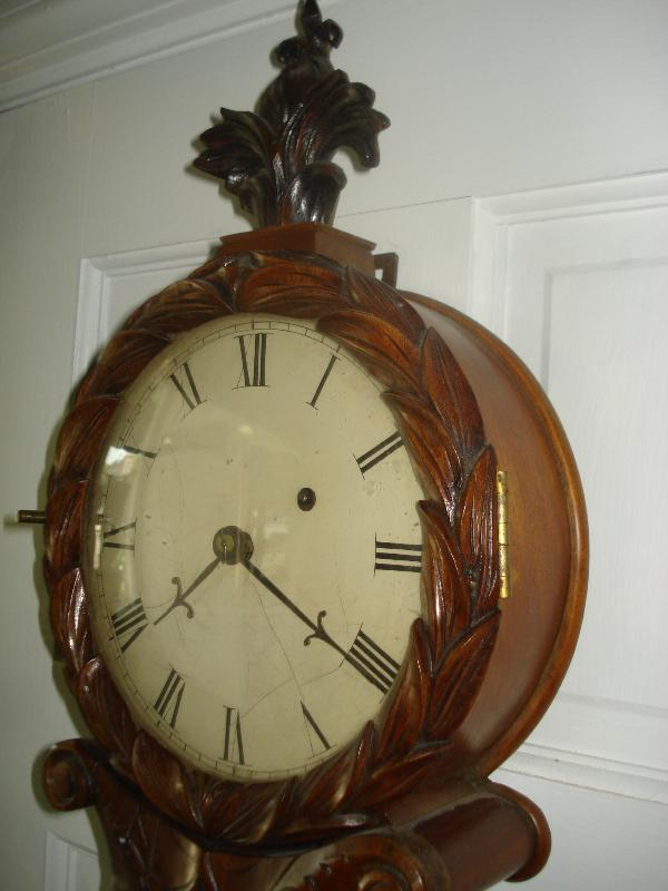 Late Federal Period Carved Mahogany Lyre Clock by David Wood, Newburyport, Massachusetts