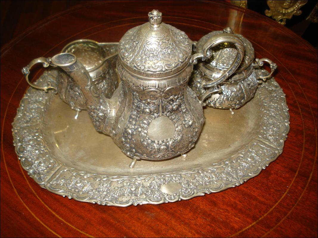 Nineteenth Century European Silver Repousse Chocolate Set With Matching Silver Tray