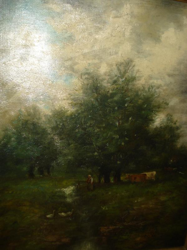 Nineteenth Century Oil On Canvas, Unsigned, att. George Inness, Cows In Pasture With Threatening Sky