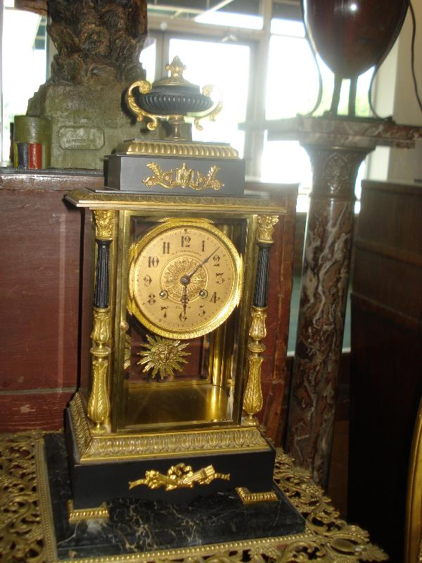 Nineteenth Century French Marble And Bronze Crystal Regulator