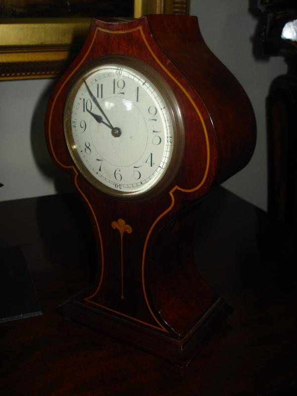 French Nineteenth Century Mantel Clock With Inlay, Balance Wheel Movement