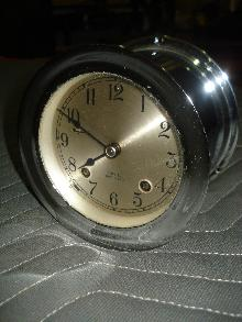 Chelsea Clock Company Nickel Plated Ship's Bell Striking Clock Circa 1940