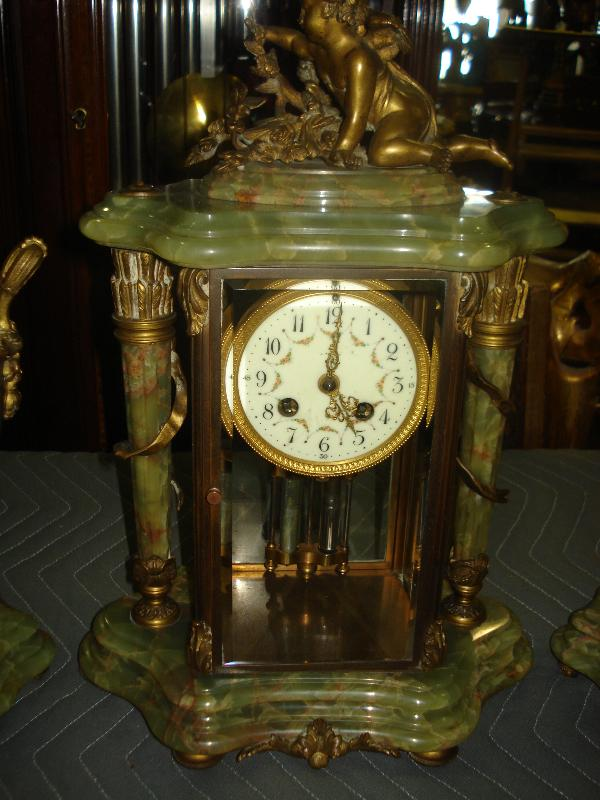 Nineteenth Century French Green Onyx And Bronze Three Piece Crystal Regulator Set