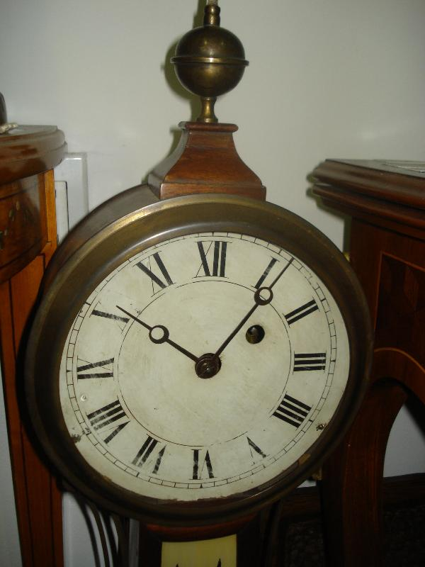 Early Nineteenth Century Weight Driven Banjo Clock, Original Glasses, Old But Replaced Movement