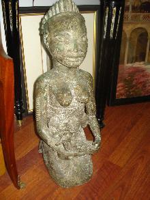 Nineteenth Century to Early Twentieth Century Benin, Africa, Large Bronze Fertility Figure