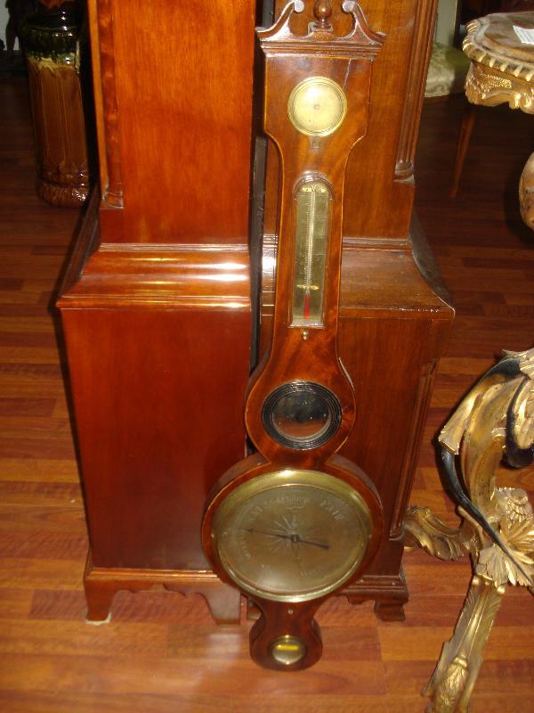 Late Eighteenth To Early Nineteenth Century English Wheel Barometer, Mahogany With Maple Inlay