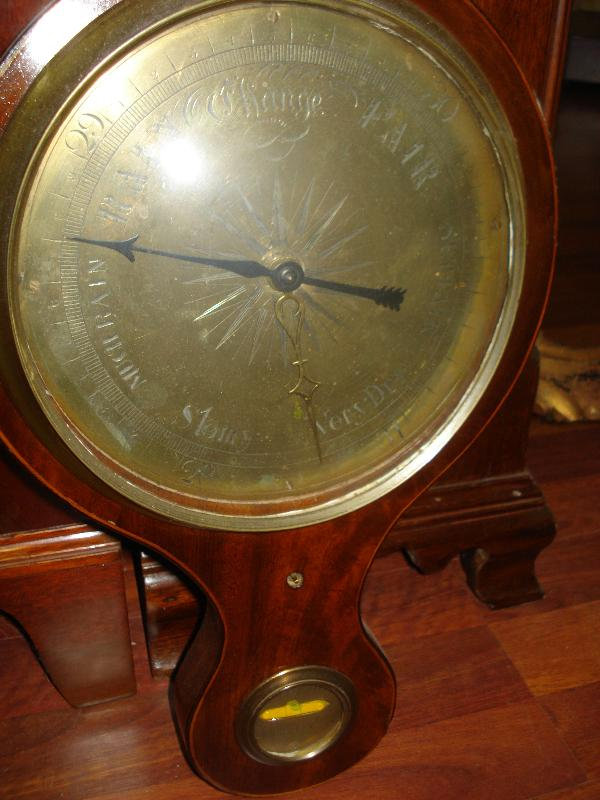 Late Eighteenth To Early Nineteenth Century English Wheel Barometer, Mahogany With Maple Inlay