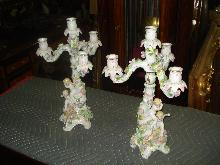 Porcelain Candelabra (Pair) of Meissen Quality With Unknown Mark