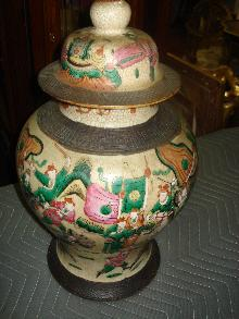 Nineteenth Century Chinese Ginger Jar Exquisitely Detailed In A Satsuma Style, Earlier Mark