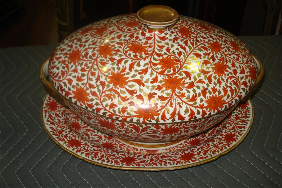 Nineteenth Century Toureen And Matching Platter, Highly Ornate, Hand Painted Floral Design With Gilded Banding, Edging, Handles, Finial