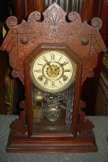 Late Nineteenth Century Waterbury Clock Company, Waterbury, Connecticut, Walnut Shelf Clock,