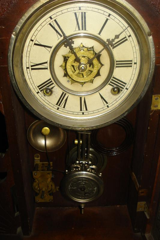 Late Nineteenth Century Waterbury Clock Company, Waterbury, Connecticut, Walnut Shelf Clock,