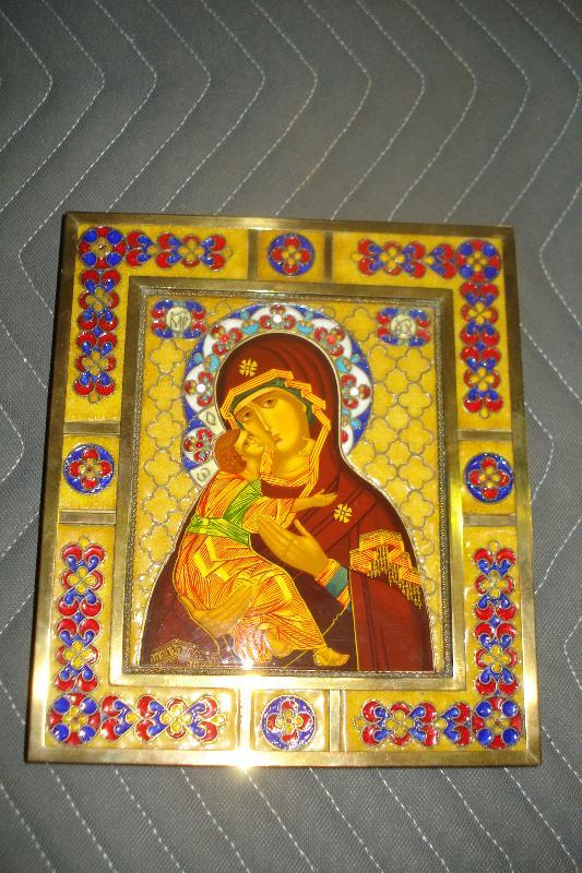 Early Twentieth Century Greek Orthodox Cloisonne Icon