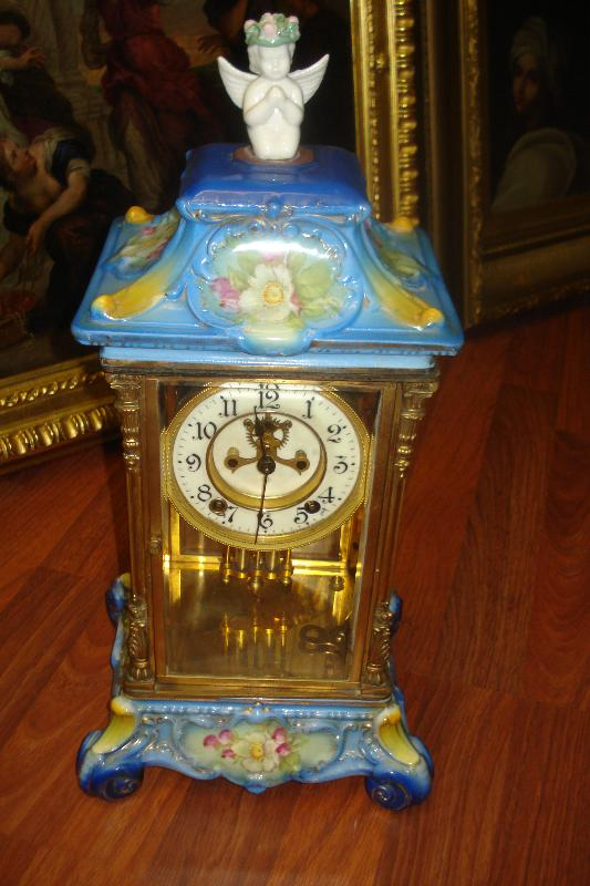 Ansonia Clock Company Porcelain Crystal Regulator In Blue
