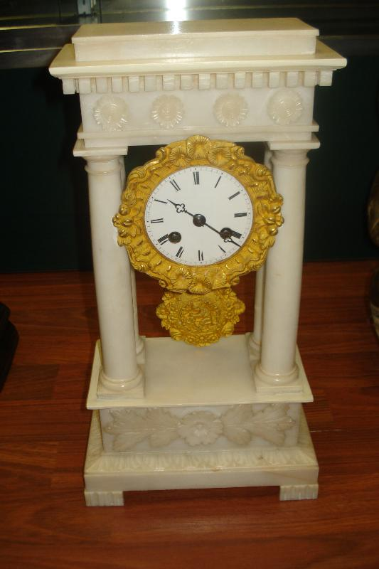 Rare Nineteenth Century French Alabaster Portico Clock Of Diminutive Size