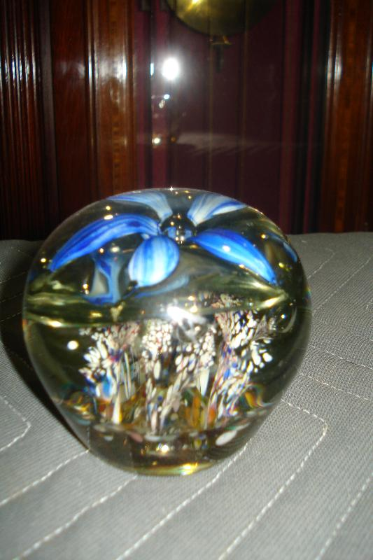 Early Twentieth Century Floral Glass Paperweight With Opened Flower And Floral Surround At Base