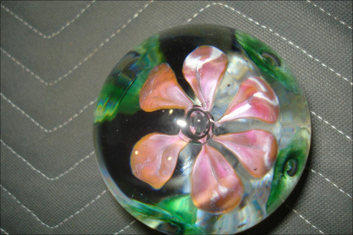 Mid Twentieth Century Floral Glass Paperweight With Opened Flower And Floral Surround At Base