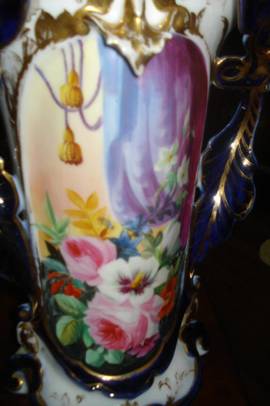 Pair Of Nineteenth Century Paris Porcelain Vases, Hand Painted Floral Scenes