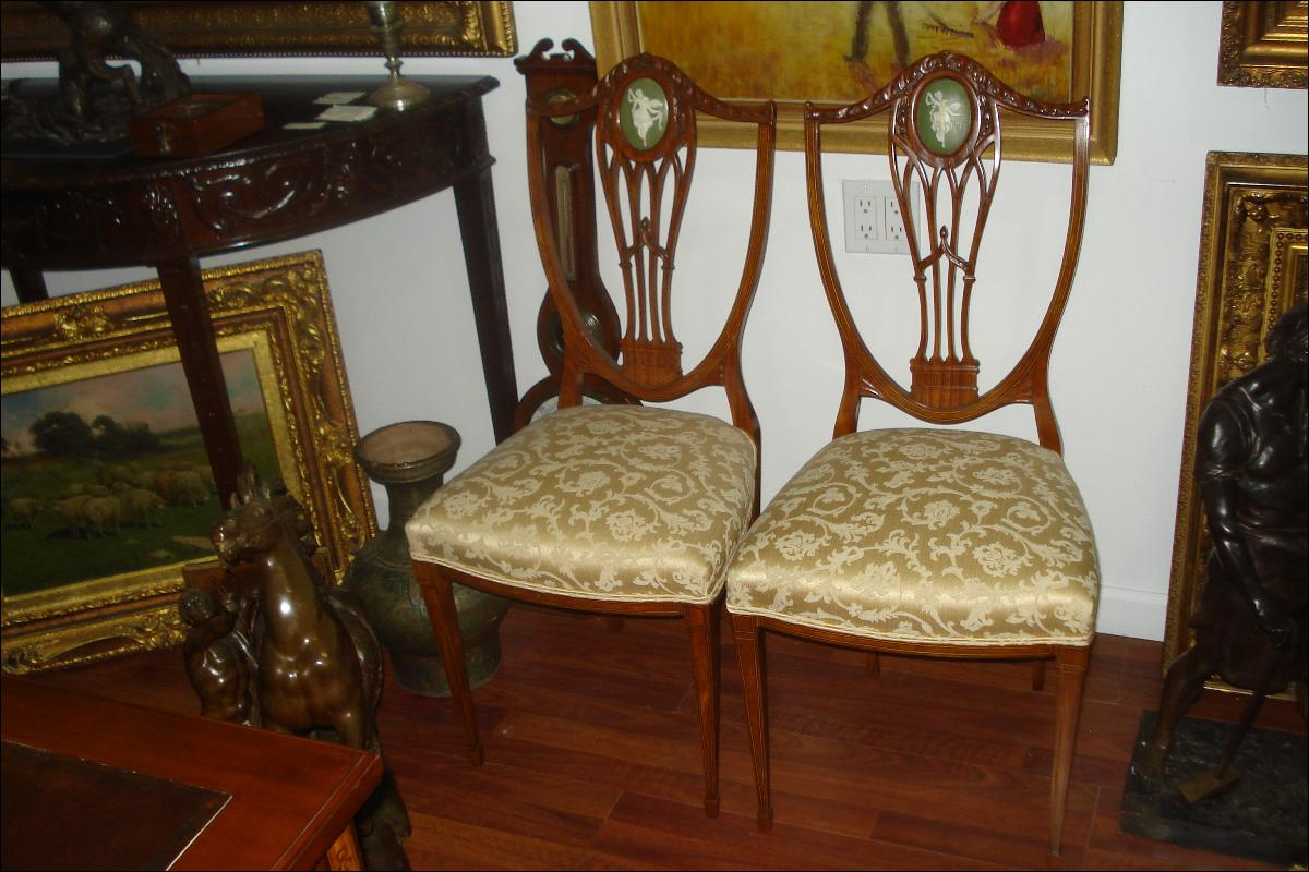 Eighteenth Century English Shield Back Chairs (Pair), Finely Carved Mahogany, Inlaid, With Wedgwood Styled Plaques