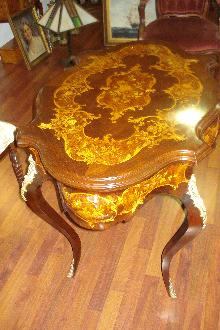 Nineteenth Century French Center Table, Bombe, Inlaid Throughout, Bronze Mounts