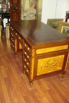 Fabulous Nineteenth Century English Desk, Inlaid On All Sides, Original Leather Top, Twin Pedestals,