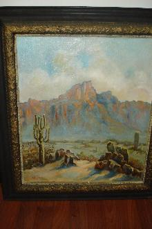 Early Twentieth Century American Western Oil On Canvas, Signed,