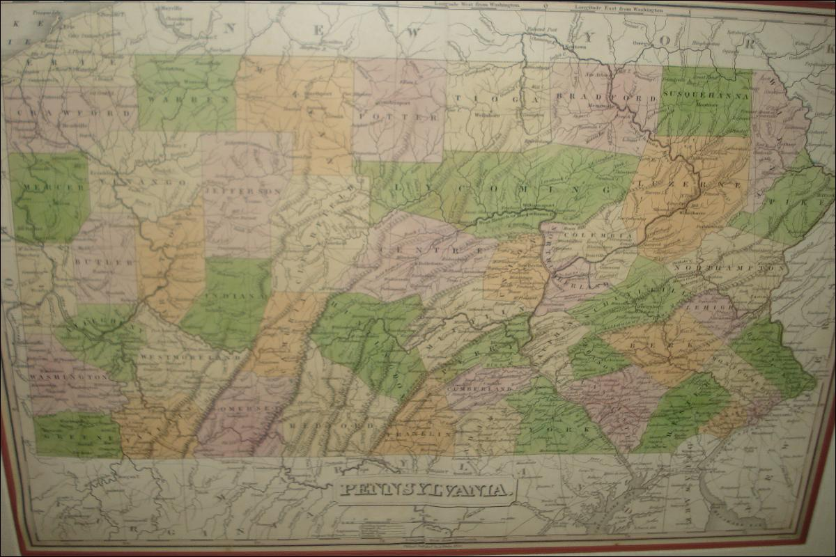 Early Nineteenth Century Map Of Pennsylvania By Anthony Finley, Hand Colored Copperplate Engraving, 1830, Published In Philadelphia