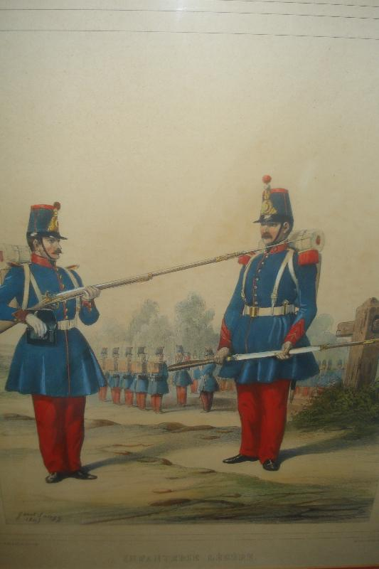 Pair Of Original Hand Colored Lithographs, French Military, 1845,