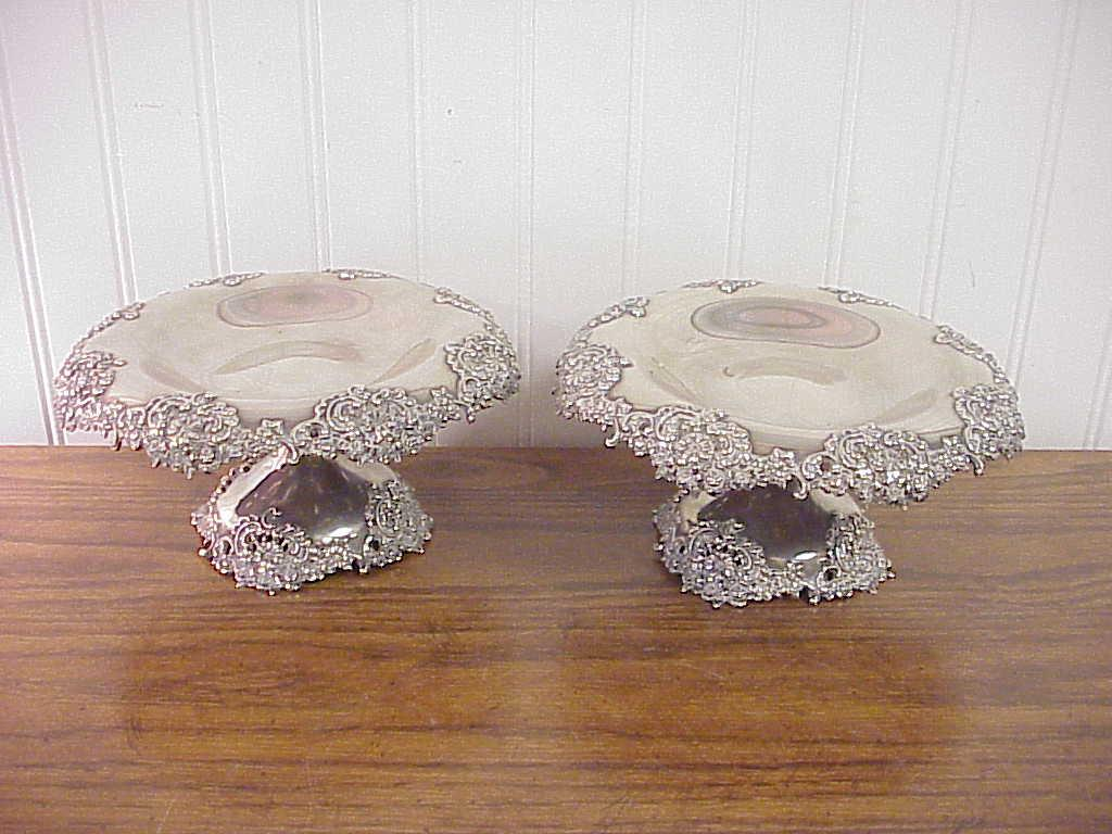 Pair Antique Ornate Reticulated Tiffany & Co Sterling Silver Footed Compotes