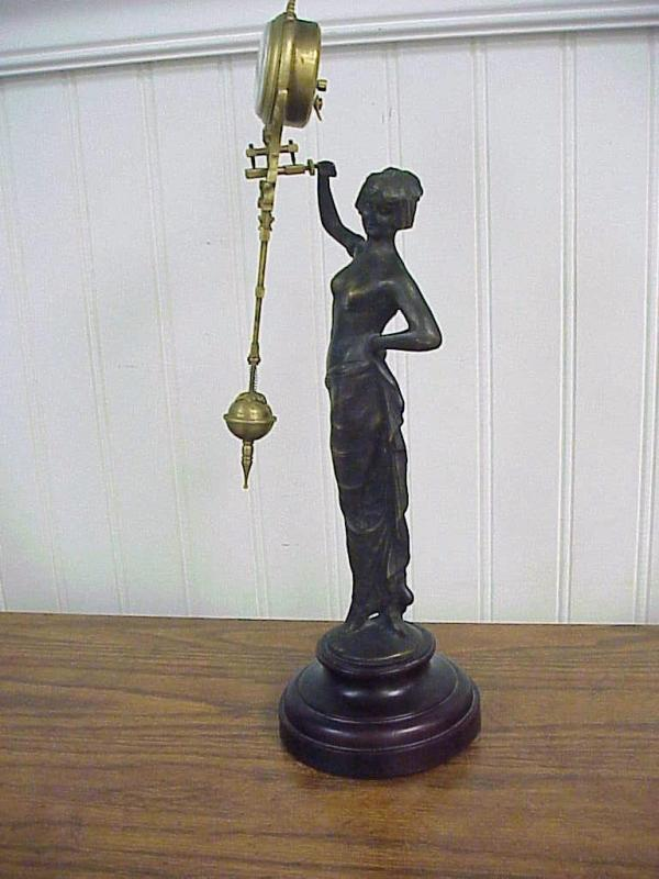 Antique Semi Nude Cast Bronze Woman Junghans Swinger Clock 14.5