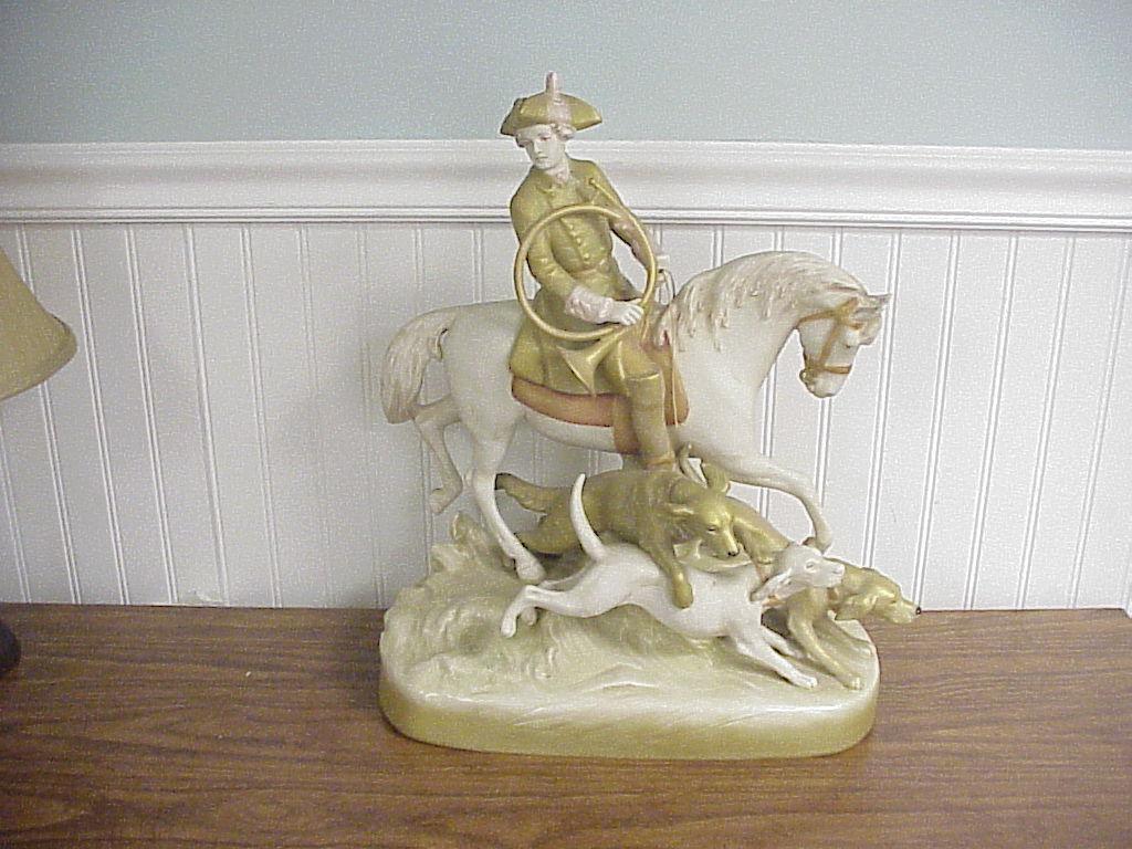 Antique Czechoslovakian Porcelain Fox Hunt Figure 29
