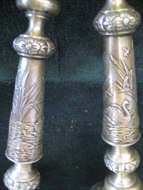 Pair of Antique Silver Candlesticks, Russian, Signed J. Ehrlich,