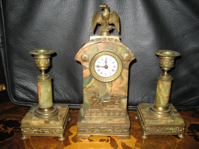 Rare  Antique French Miniature Three Piece Clock Set, Napoleonic Styling of the Louis Philippe Era, Onyx and Ormolu