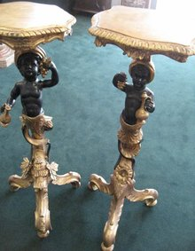Late Eighteenth Century  Assembled Pair of Ebonized, Carved and Gilded Blackamoors