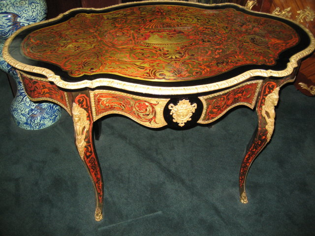 Early Nineteenth Century French Boulle Center Table with Singular Front Drawer and Exquisitely Detailed Ormolu Mounts