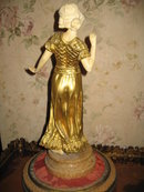 Late Nineteenth Century French Bronze and Ivory Statue of a Woman Dancing by A. Gori
