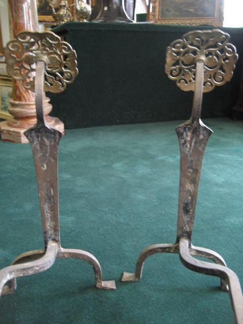 Eighteenth Century American Hand Forged Andirons