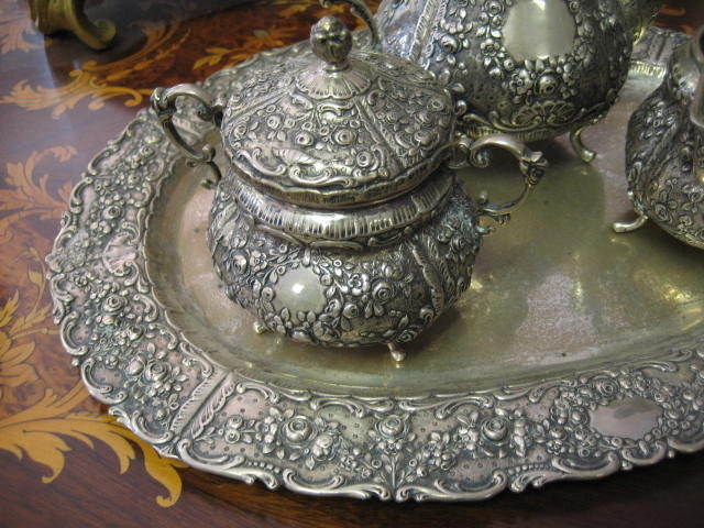 European Nineteenth Century  Repousse Silver Chocolate Set With Matching  Tray