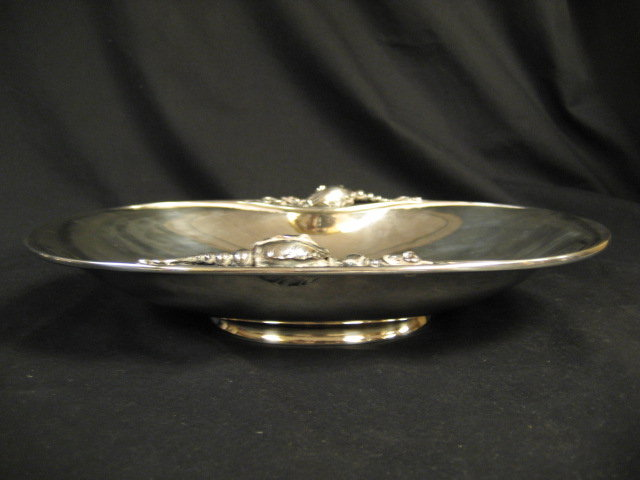 George Jensen Sterling Silver Hollowware Oval Serving Bowl Blossom Pattern # 2B Circa 1919