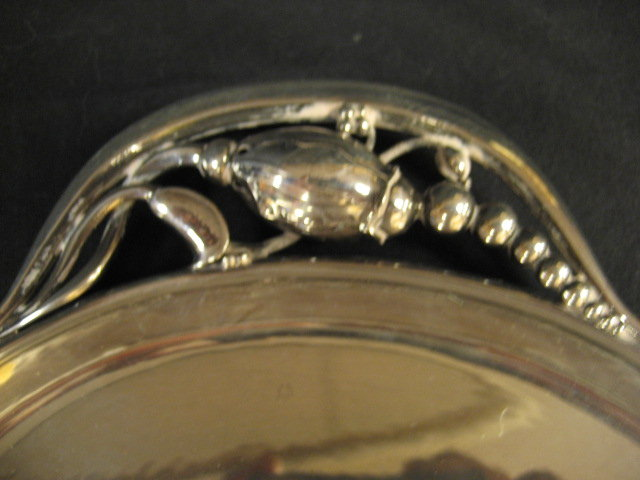George Jensen Sterling Silver Hollowware Oval Serving Tray Blossom Pattern # 2H Circa 1919
