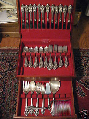 Wallace Grande Baroque Sterling Silver Flatware Set with Storage Chest  79 Pieces