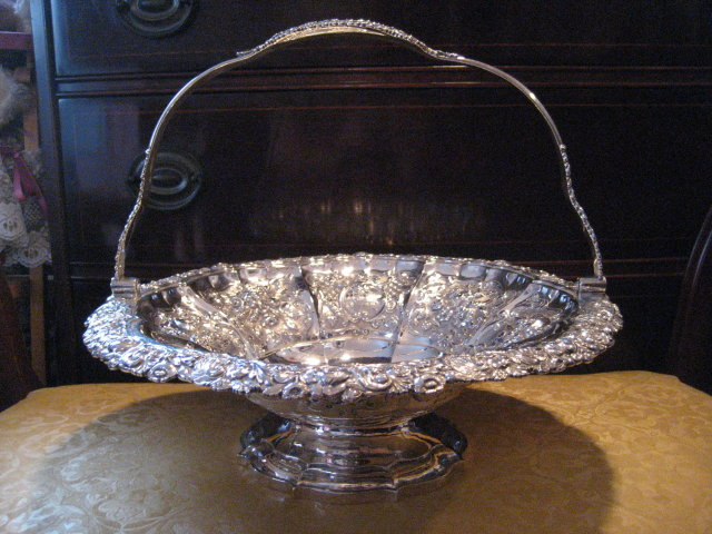 Sterling Silver English Basket with Handle