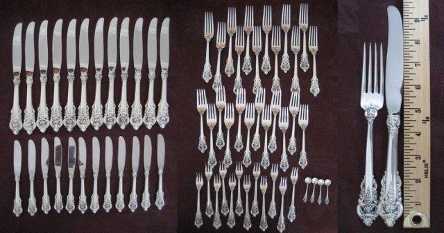 Wallace Grande Baroque Sterling Silver Flatware Dinner Set 102 Pieces