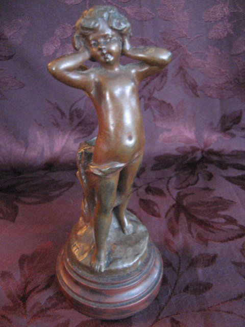 Bronze Cherub with Tree Stump Statue / Carving with Marble Base, Signed by Codet
