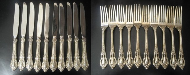 Lunt Eloquence Sterling Silver  Dinner Flatware Set 52 Pieces