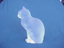 Old Lalique France Frosted Glass Figure of a Cat 8