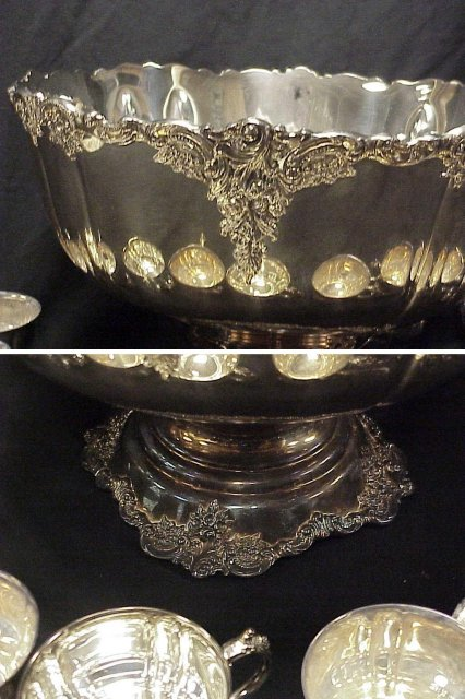 14 piece Wallace BAROQUE Silverplate Punchbowl Set