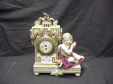 Antique Meissen Porc Cherub / Putti Figure Clock 12