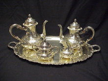 5pc Ornate Old Repousse German Sterling Silver Tea Set