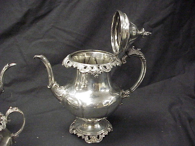 4 piece Wallace Grande Baroque Sterling Silver Tea Set